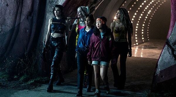 """ROSIE PEREZ as Renee Montoya, MARY ELIZABETH WINSTEAD as Huntress, MARGOT ROBBIE as Harley Quinn, ELLA JAY BASCO as Cassandra Cain and JURNEE SMOLLETT-BELL as Black Canary in Warner Bros. Pictures' """"BIRDS OF PREY (AND THE FANTABULOUS EMANCIPATION OF ONE HARLEY QUINN)"""